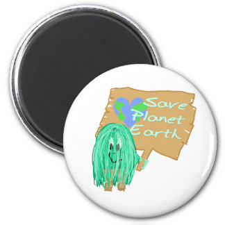 save planet earth 6 cm round magnet