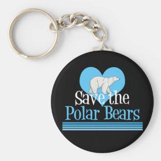 Save Polar Bears Cute Black Blue Key Ring