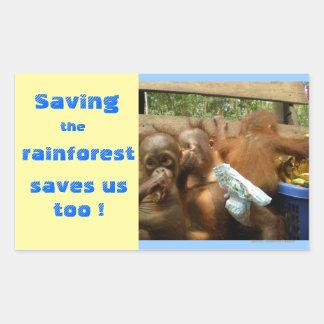 Save Rainforest and Cute Baby Orangutans Rectangular Sticker