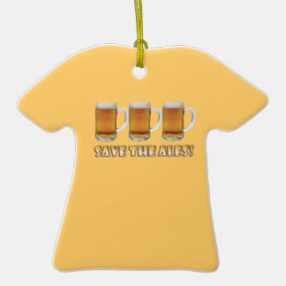 Save The Ales Double-Sided T-Shirt Ceramic Christmas Ornament