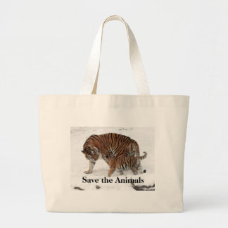 Save the Animals Jumbo Tote Natural Tote Bag