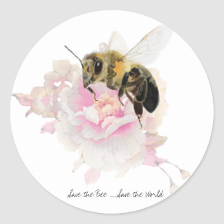 Save the Bee! Save the World! Pretty Bee Round Sticker