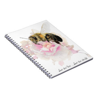 Save the Bee! Save the World! Pretty Bee Spiral Notebook