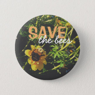 Save the bees! 6 cm round badge