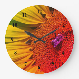 Save the Bees Bright Yellow Rainbow Sunflower Large Clock