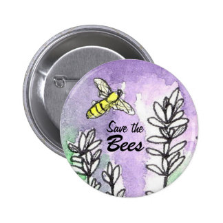 Save The Bees Button Lavender Flower Watercolor