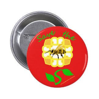 Save The Bees Flower Design Button