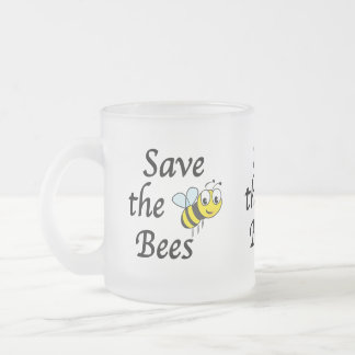 Save the Bees Frosted Glass Coffee Mug
