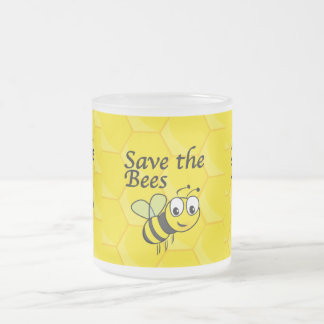 Save the Bees Frosted Glass Mug