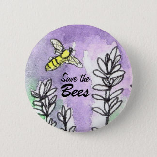 Save The Bees Lavender Flower Watercolor 6 Cm Round Badge