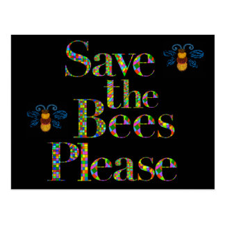 Save the Bees Please Mosaic Style Postcard
