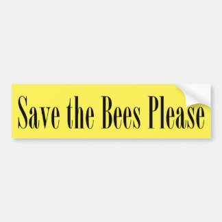 Save the Bees Please Yellow Bumper Sticker I