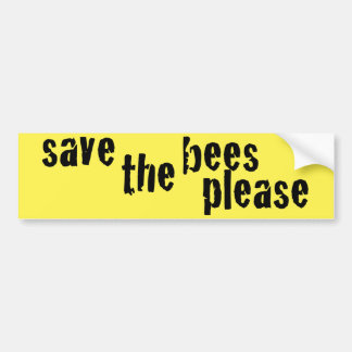 Save the Bees Please Yellow Bumper Sticker II