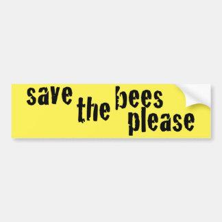 Save the Bees Please Yellow Bumper Sticker II Car Bumper Sticker