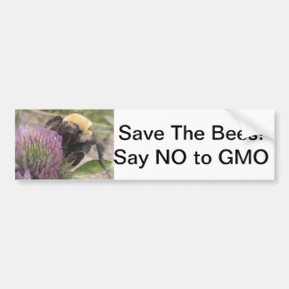 Save The Bees Say No To GMO Bumper Sticker