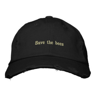 SAVE THE BEES Threads Distressed  Hat Embroidered Baseball Cap