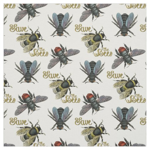 Save the Bees vintage bee fabric