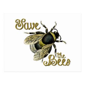 Save the Bees vintage illustration Postcard