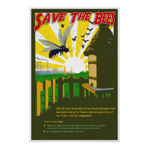save the bees vintage style poster zazzle. Black Bedroom Furniture Sets. Home Design Ideas