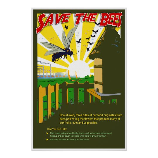 Save The Bees - Vintage Style Poster