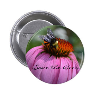 Save the Bees with Echinacea 6 Cm Round Badge
