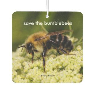 Save the Bumblebees Pollinating Flowering Carrot Car Air Freshener