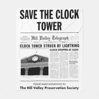save the clock tower fleece blanket