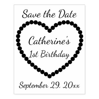 Save the Date 1st Birthday Heart Personalized Rubber Stamp
