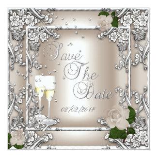 Save The Date 25th Anniversary Wedding 13 Cm X 13 Cm Square Invitation Card