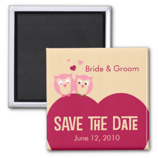 Save the Date 2 Owls on a Heart Magnet