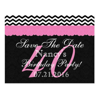 Save the Date 40th Birthday Party Chevron Pattern Postcards