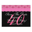 Save the Date 40th Birthday Pink and Black Lace Postcard