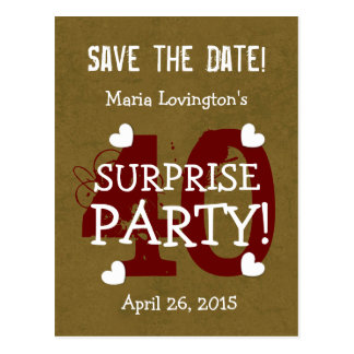 Save the Date 40th Surprise Birthday S40C GOLD Postcards