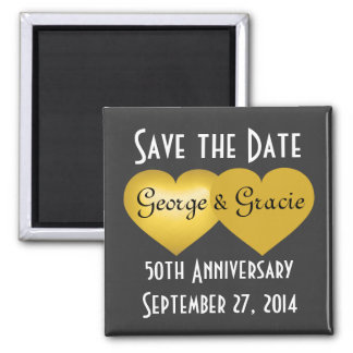 Save the date 50th anniversary gold hearts square magnet