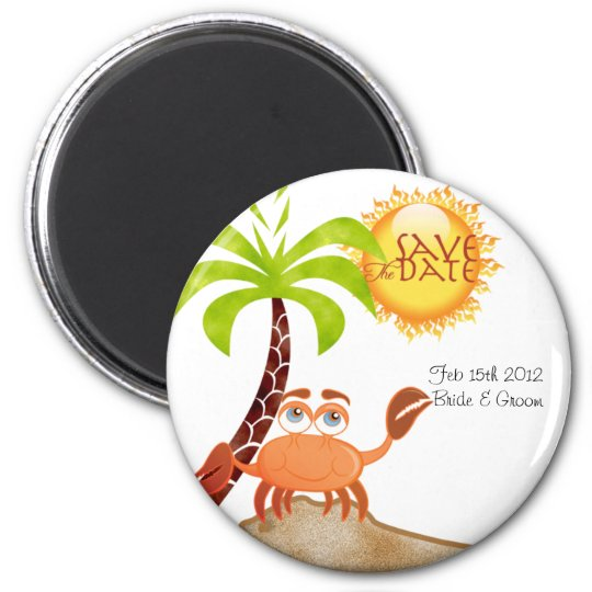 save the date 6 cm round magnet