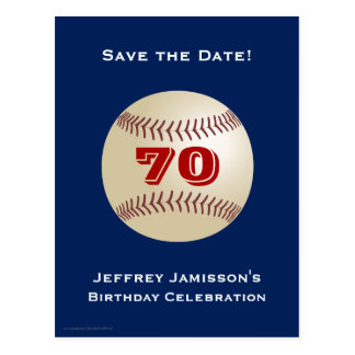 Save the Date 70th Birthday Baseball Postcard