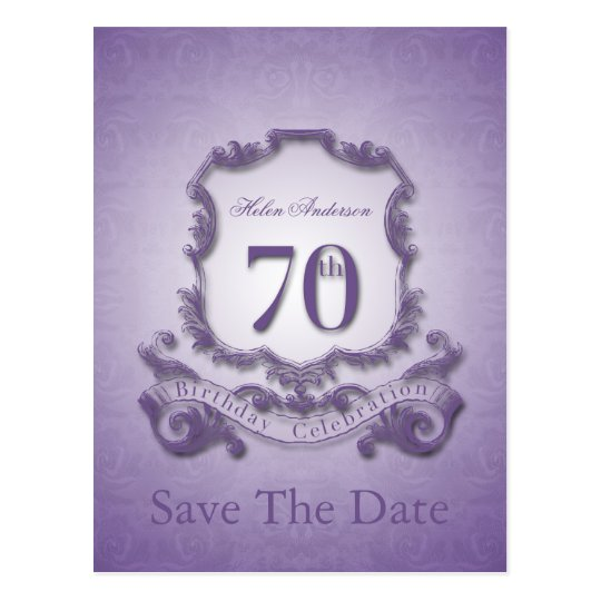 Save the Date 70th Birthday Personalised Postcard