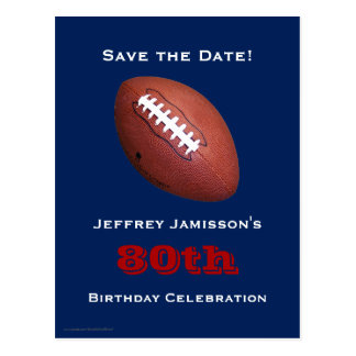 Save the Date 80th Birthday Football Postcard