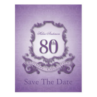 Save the Date 80th Birthday Personalized Postcard