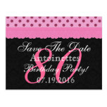 Save the Date 80th Birthday Pink and Black Lace