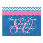 Save the Date 80th Birthday Pink Blue Lace Postcard