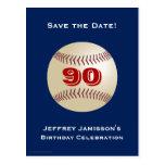 Save the Date 90th Birthday Baseball Postcard