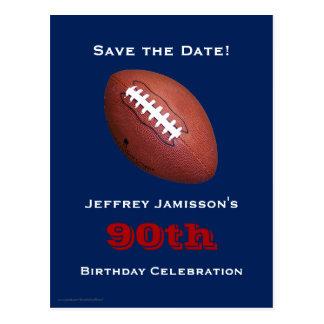 Save the Date 90th Birthday Football Postcard