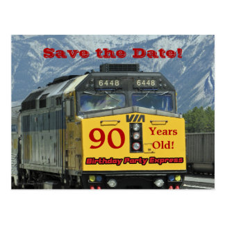 Save the Date 90th Birthday Party Engine Postcard