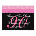 Save the Date 90th Birthday Pink and Black Lace Post Card