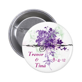 Save The Date Abstract Floral Bouquet Round Pin