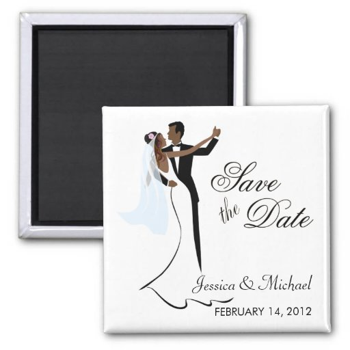 Save the Date  - African American Bride and Groom Magnets