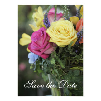Save the Date against colorful roses Personalized Invite