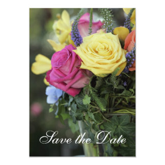 "Save the Date against colorful roses 5"" X 7"" Invitation Card"