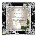 Save The Date Anniversary Wedding Cream Black 13 Cm X 13 Cm Square Invitation Card